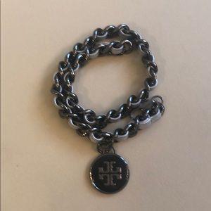 Tory Burch wrap bracelet black & silver